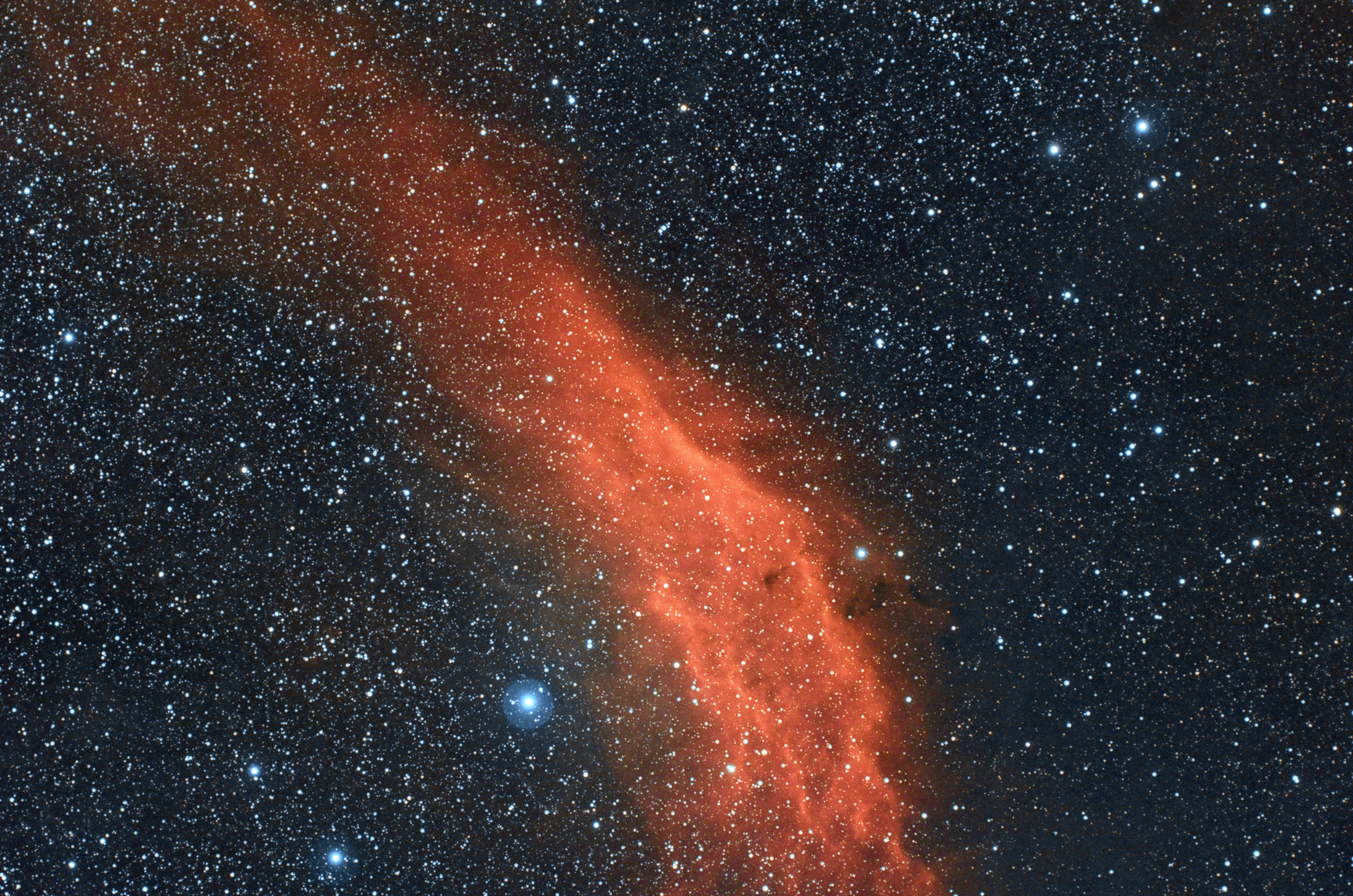 NGC1499,单张600s,双窄带